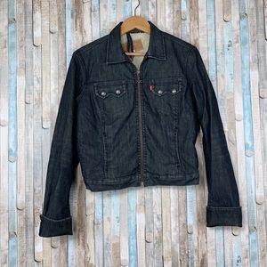 Levis M Dark Denim Shearling Lined Trucker Jacket